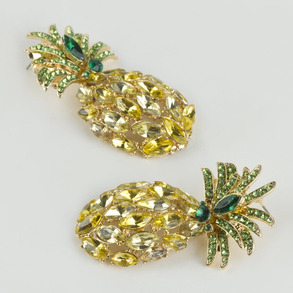 Ananas Figürlü Taşlı Zara Küpe