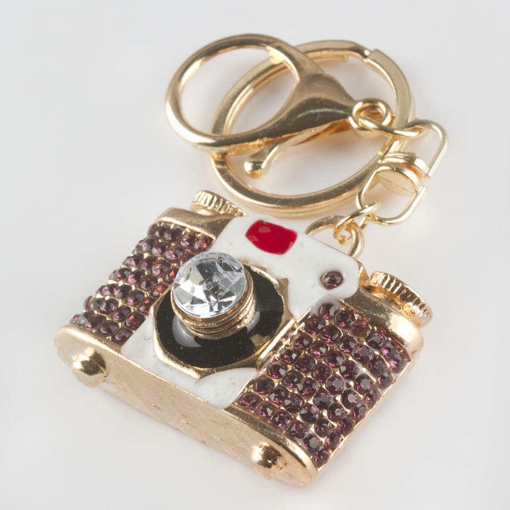 Fotograf Makinası Figürlü Taşlı Anahtarlık