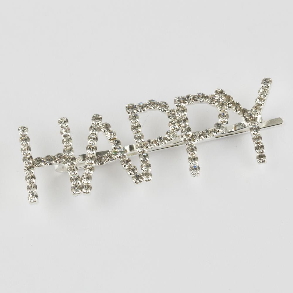 Happy Yazılı Taşlı Pens Toka