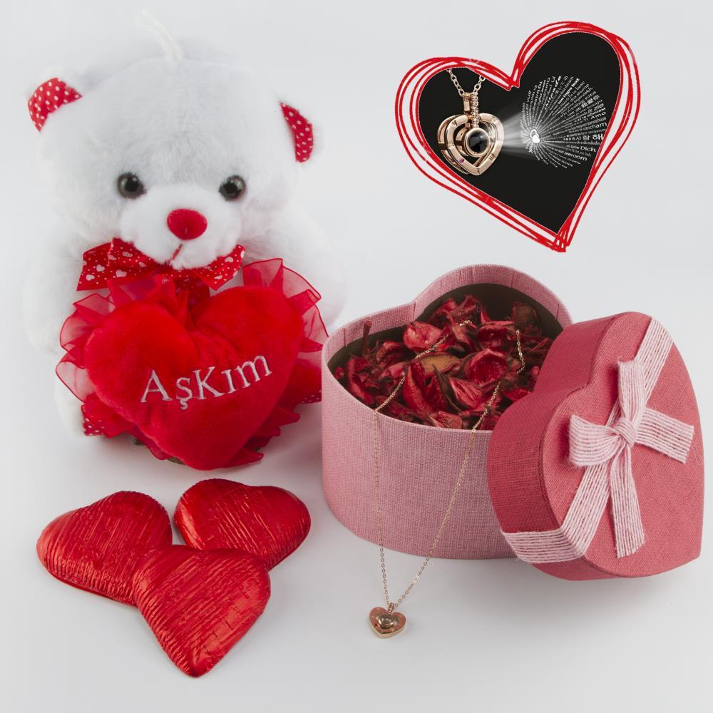 Sevgililer Günü Hediye Seti (Kutu & Ayıcık & Çikolata)