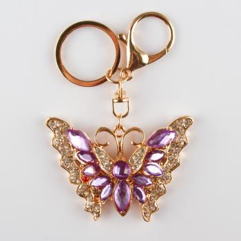 Kelebek Figürlü Taşlı Anahtarlık
