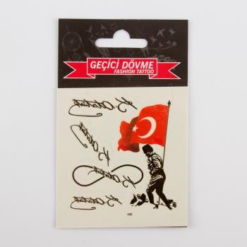 Atatürk Figürlü Tattoo Dövme Sticker (Küçük)