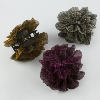 Çiçek Figürlü Simli Tüllü Mandal Toka