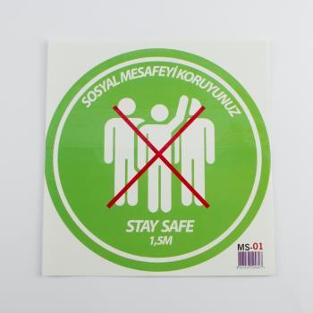 Sosyal Mesafeyi Koruyunuz Yazılı Sticker