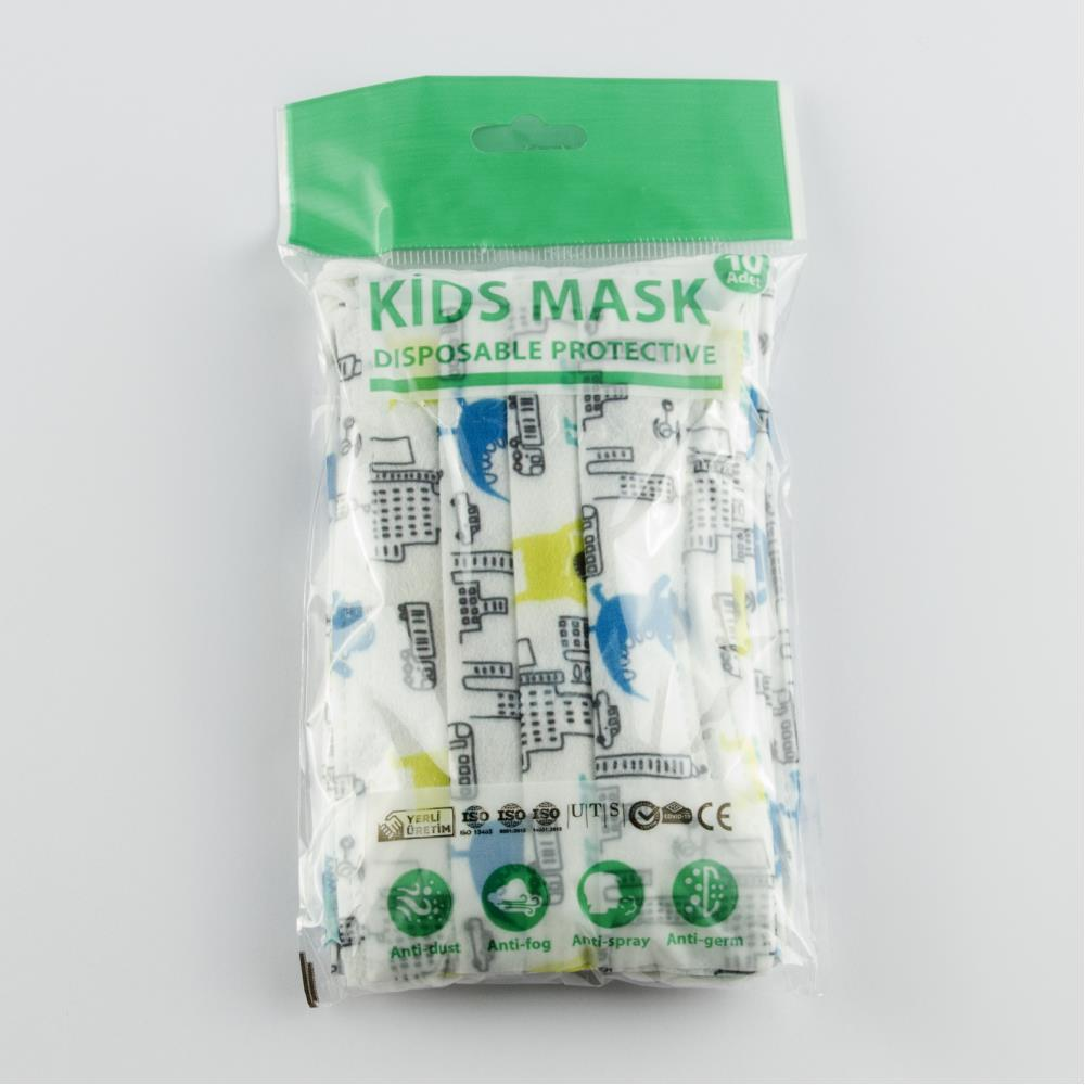 10 Adet Tek Kullanımlık Cerrahi Çocuk Yüz Maskesi