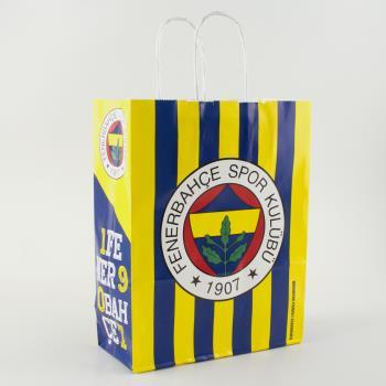 18*8 Fenerbahçe Desenli Büküm Saplı Kağıt Poşet