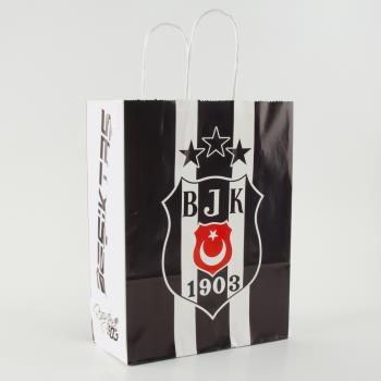 18*8 Beşiktaş Desenli Büküm Saplı Kağıt Poşet