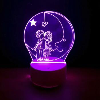 Romantik Aşıklar 3D Dokunmatik Gece Lambası