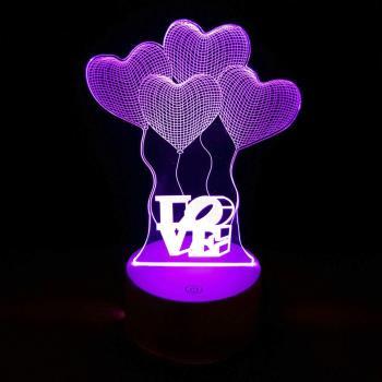 Love Uçan Balonlar 3D Dokunmatik Gece Lambası