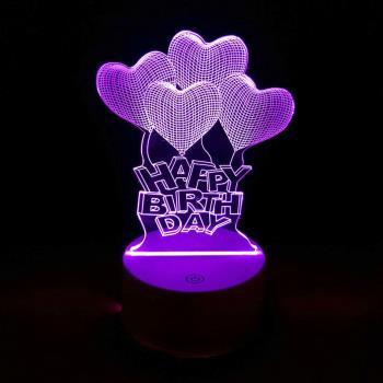 Happy Birth Day Uçan Balonlar 3D Dokunmatik Gece Lambası