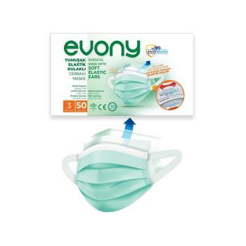 50'li Evony Yumuşak Elastik Kulaklı Cerrahi Maske