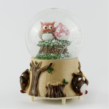 Baykuş Pilli Işıklı Kar Küresi (Küçük Boy)