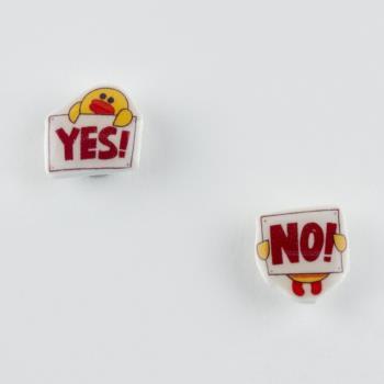 Yes No Figürlü Mıknatıslı Kız Çocuk Küpesi