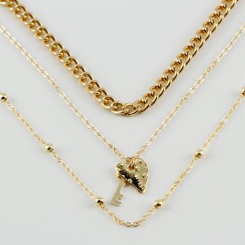 3'lü Kalp Anahtar Figürlü Zincir Kolye