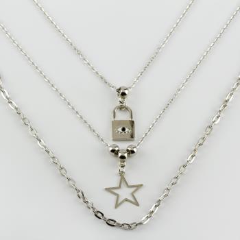 3'lü Yıldız Kilit Figürlü Zincir Kolye