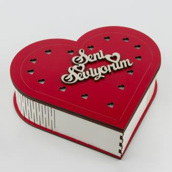 Seni Seviyorum Yazılı Ahşap Kutu Orta (Boş Kutu)