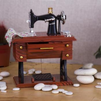 Nostajik Dikiş Makinası Müzik Kutusu Küçük