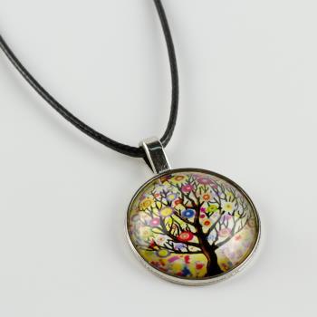 Hayat Ağacı Figürlü Cam Uç Kolye
