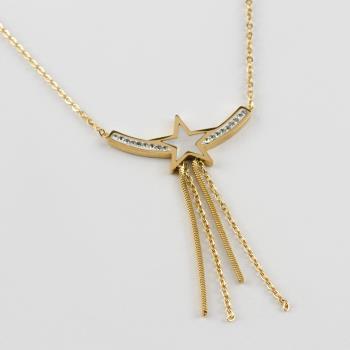 Yıldız Figürlü Zirkon Taşlı Lüks Çelik Kolye