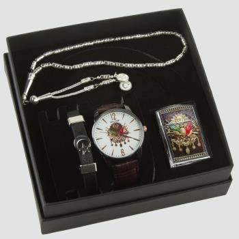 Osmanlı Temalı Erkek Kol Saati Tesbih, Bileklik ve Çakmak Set