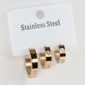 3 Adet Crt Lüx Çelik Küpe
