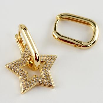 Yıldız Figürlü Lüks Zirkon Taşlı Çelik Küpe