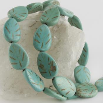 1,4 cm Yaprak Figürlü Turkuaz Doğaltaş