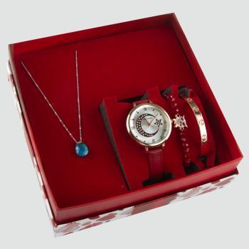 Ay Yıldız Figürlü Bayan Kol Saati Bileklik ve Kolye Set