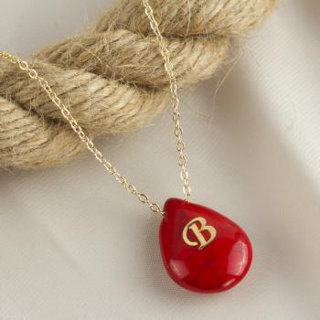 Turkuaz (Kırmızı Renkli) Harfli Kolye