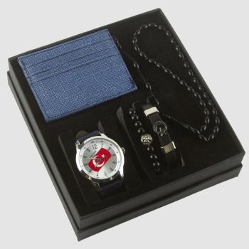 Ay Yıldız Temalı Erkek Kol Saati Tesbih, Bileklik ve Cüzdan Set