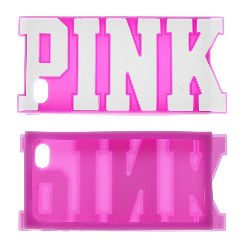 iPhone 4 / 4s Pink Kabartma Yazılı Silikon Kılıf
