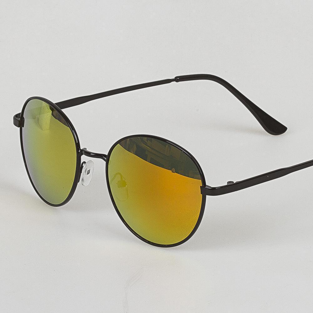 Oval Sarı Camlı Siyah Çerçeveli Güneş Gözlüğü (2)